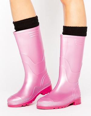 Juju Резиновые сапоги цвета металлик в винтажном стиле. Цвет: розовый