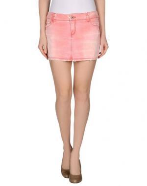 Джинсовая юбка JFOUR. Цвет: коралловый