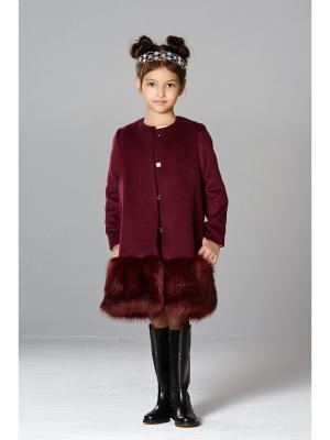 Пальто с мехом MORU. Цвет: бордовый
