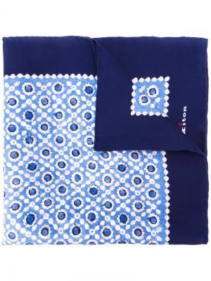 Карманный платок с геометрическим принтом Kiton. Цвет: синий