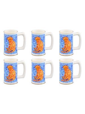 Набор из 6-ти вазочек под зубочистки Обезьянки оранжевые на удачу голубом Elan Gallery. Цвет: голубой, оранжевый