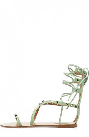 Кожаные сандалии Rockstud на шнуровке Valentino. Цвет: светло-зеленый