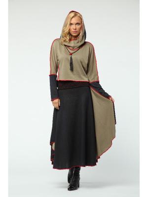 Костюм: юбка, джемпер KATA BINSKA. Цвет: темно-синий, бежевый