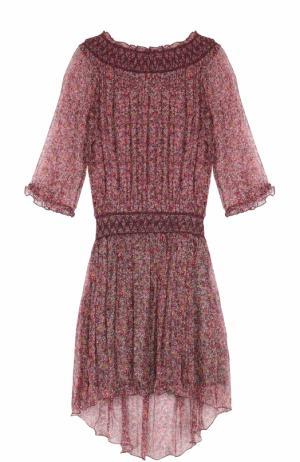 Шелковое платье с открытыми плечами и цветочным принтом Zadig&Voltaire. Цвет: разноцветный