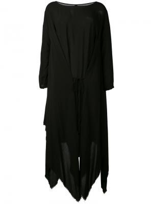 Асимметричное платье с необработанными краями Poème Bohémien. Цвет: чёрный