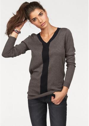 Пуловер BOYSENS BOYSEN'S. Цвет: серо-коричневый/черный