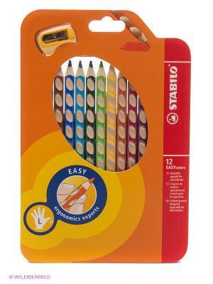 Набор цветных карандашей, 12 цв., для левшей Stabilo. Цвет: оранжевый, красный