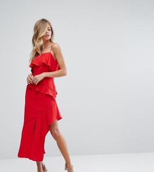 Dark Pink Асимметричное платье миди с оборками. Цвет: красный