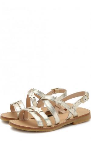 Кожаные сандалии на ремешке Il Gufo. Цвет: золотой