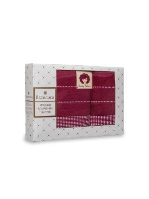 Комплект полотенец махровых гладкокрашеных с бордюром Sweety Barbara, 50х90см-1шт, 70*130см-1шт. Василиса. Цвет: малиновый