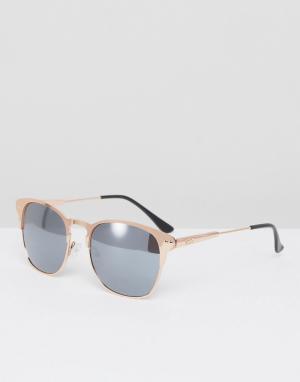 ASOS Солнцезащитные очки в стиле ретро с золотисто-розовой оправой. Цвет: золотой