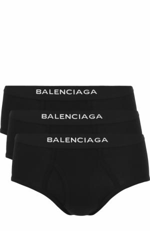 Комплект из трех хлопковых хипсов с широкой резинкой Balenciaga. Цвет: черный