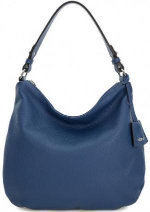 Синяя кожаная сумка с одним отделом Abro. Цвет: синий