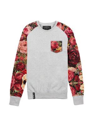 Свитшот с принтованными рукавами и карманом Цветы Eniland. Цвет: серый