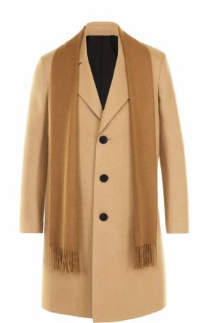 Шерстяное однобортное пальто с шарфом Neil Barrett. Цвет: бежевый