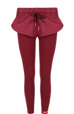 Спортивные леггинсы с шортами и контрастными лампасами Adidas by Stella McCartney. Цвет: бордовый