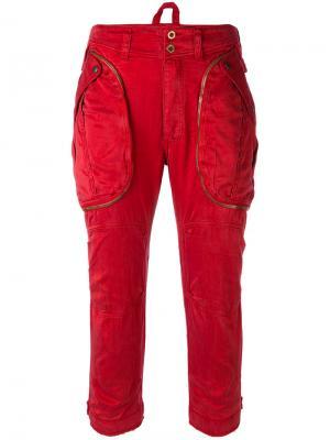 Укороченные брюки-карго Faith Connexion. Цвет: красный