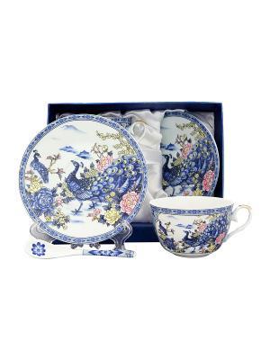 Чайная пара Павлин на серебре Elan Gallery. Цвет: белый, синий