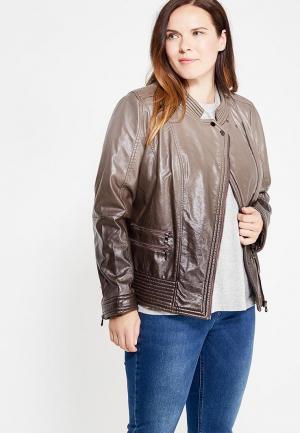 Куртка кожаная Fiorella Rubino. Цвет: коричневый