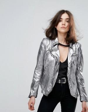 Muubaa Кожаная куртка металлик Monteria. Цвет: серебряный