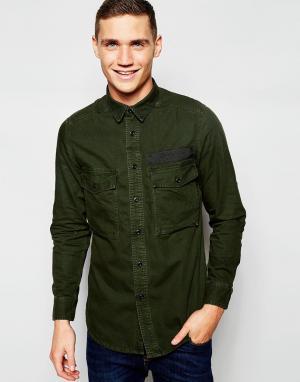 G-Star Зелено‑серая удлиненная джинсовая oversize‑рубашка G‑Star Type C. Цвет: зеленый