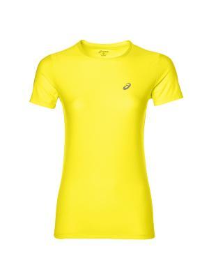 Футболка SS TOP ASICS. Цвет: желтый