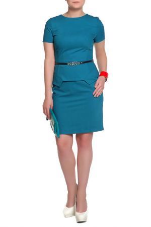 Платье с ремнем Mees. Цвет: голубой