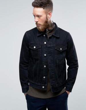 Weekday Черная джинсовая куртка Single. Цвет: черный