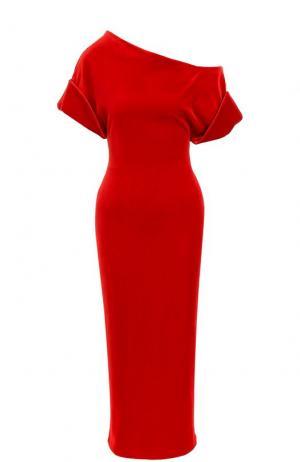 Приталенное бархатное платье с открытым плечом Christopher Kane. Цвет: красный