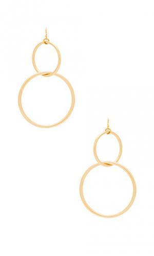 Серьги-кольца interlocking Vanessa Mooney. Цвет: металлический золотой