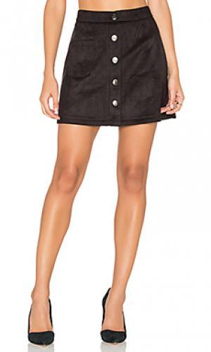Замшевая мини юбка с застежкой на пуговицы Bishop + Young. Цвет: черный