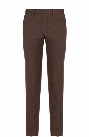 Хлопковые брюки прямого кроя Canali. Цвет: коричневый