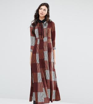 Glamorous Tall Длинное платье-рубашка в полоску с вельветовым бантиком. Цвет: мульти