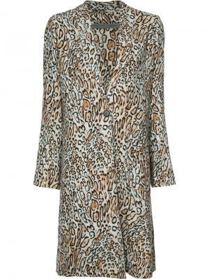 Пальто с леопардовым принтом Raquel Allegra. Цвет: коричневый
