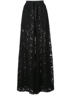 Кружевные брюки-палаццо Adam Lippes. Цвет: чёрный