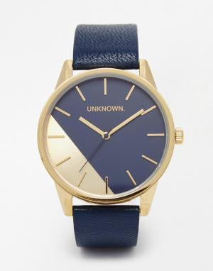 UNKNOWN Часы с темно‑синим кожаным ремешком Urban Geo. Цвет: темно-синий