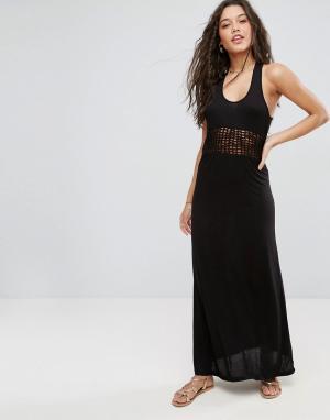 ASOS Пляжное трикотажное платье макси с решетчатой вставкой. Цвет: черный