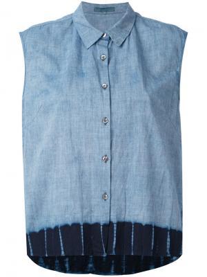 Джинсовая рубашка без рукавов Suzusan. Цвет: синий