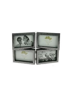 Фоторамка на 4 фото 15*10см Русские подарки. Цвет: черный, белый