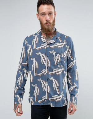 Brooklyn Supply Co. Рубашка с отложным воротником и принтом Co. Цвет: темно-синий