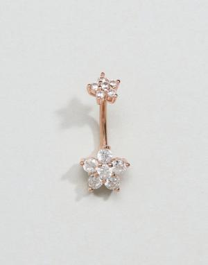 Kingsley Ryan Украшение для пирсинга пупка цвета розового золота с цветками. Цвет: золотой