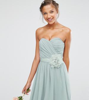 ASOS Tall Шифоновое платье‑бандо мини со съемным цветочным украшением. Цвет: серый
