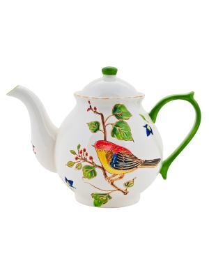 Чайник Птичка 730мл в п/у Elff Ceramics. Цвет: белый, зеленый