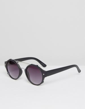 Quay Australia Круглые солнцезащитные очки в матовой черной оправе. Цвет: черный