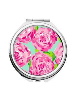 Зеркальце карманное Розы гуашью Chocopony. Цвет: голубой, розовый, фуксия