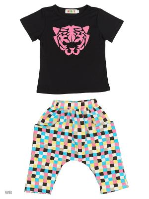 Футболка и багги Kidly. Цвет: черный, розовый, белый