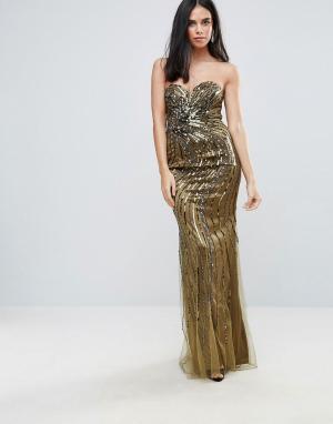 Forever Unique Декорированное платье макси с вырезом сердечком. Цвет: зеленый