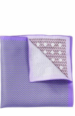 Шелковый платок с принтом Ermenegildo Zegna. Цвет: сиреневый