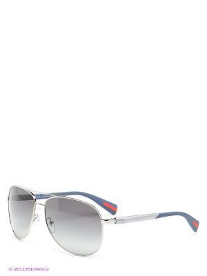 Очки солнцезащитные Prada Linea Rossa. Цвет: темно-синий, серебристый, серо-голубой