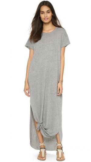 Платье-футболка с узлом THE GREAT.. Цвет: серый меланж
